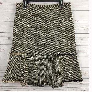 J crew metallic tweed wool blend woven skirt 6